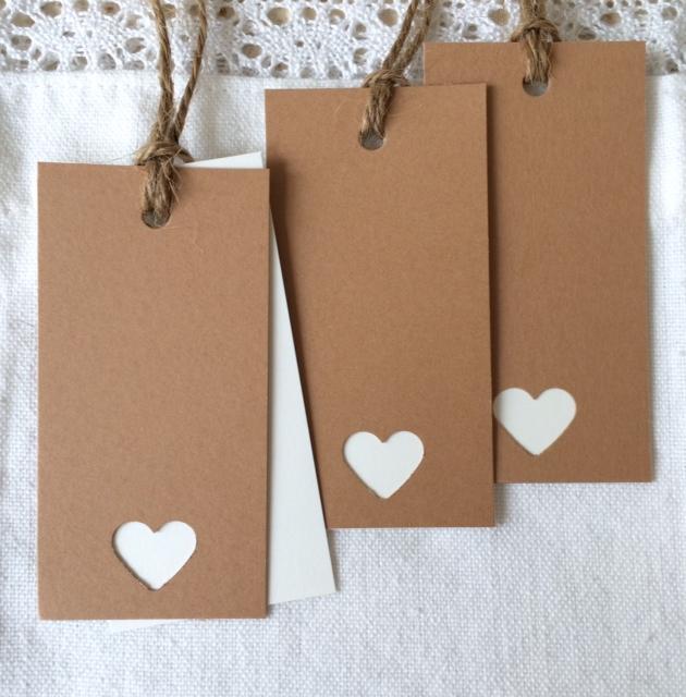 Plaatskaartje Dubbel blanco  Twee losse kaartjes (ivoor en kraft) aan elkaar verbonden met